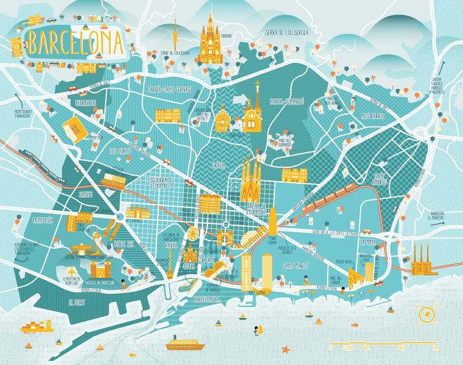 A Map Of Barcelona Diana Stanciulescu - Barcelona map guide